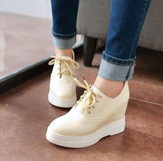 Wedges Women College Style Hidden Lace Up Platform Round Toe Solid Oxford