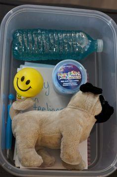 Cool Down Box for frustrated or Angry Kids.  Homeschooling. Kindergarten. Calming Jar.  Feelings.