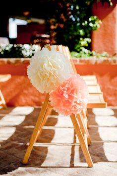 Tissue poms vs. pew bows for a casual affair!  http://www.nashvillewrapscommunity.com/blog/2010/07/how-to-make-tissue-flower-pom-poms/