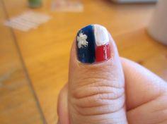 Nail Art: Texas Flag Nails - Pancho and Leftey Texas Nails, Flag Nails, Texas Flags, 4th Of July, Nail Art, Houston, Beauty, Nail Arts