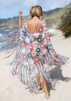 Bisou Crocheted Fringe Poncho - [shop name]