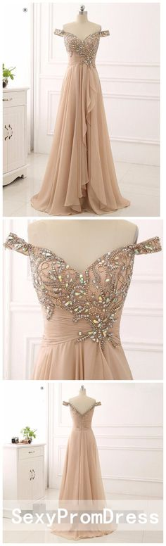 Off Shoulder Delicate Beading Long Custom Evening Prom Dresses