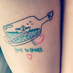 This colourful cutie: | 41 Beautiful Tattoos That Will Spark Your Travel Bug