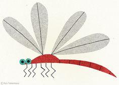 Dragonfly - illustration by Ryo Takemasa Dragonfly Illustration, Retro Illustration, Ryo Takemasa, Dragonfly Art, Dragonfly Drawing, Insect Art, Guache, Animal Design, Art Plastique