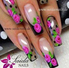 Sheer black nails with roses