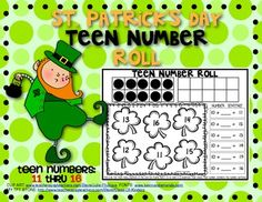 FREEBIE!!! St. Patrick's Day: Teen Number Roll Game. (Numbers 11-16)