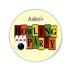 KRW Custom Bowling Birthday Party Stickers