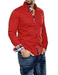 Camisa Carisma detalle cuello doble botón   roja