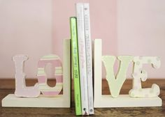 Wooden Love Bookends-new arrivals, love wooden bookends, nursery decor, bookends