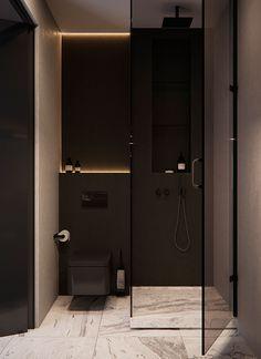 BH - BH Sergey Makhno Architects on Behance - Bathroom Design Luxury, Bathroom Design Small, Modern Bathroom, Small Space Interior Design, Home Interior Design, Bedroom Cupboard Designs, Bathroom Design Inspiration, Bathroom Styling, Apartment Design