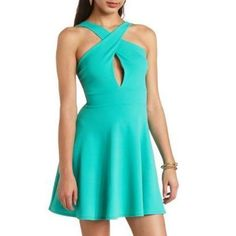Mint Skater Dress by Charlotte Russe. Buy for $26 from Charlotte Russe