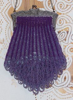 Purple Grandeur beaded knitted purse.