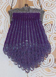 Purple Grandeur beaded knitted purse.