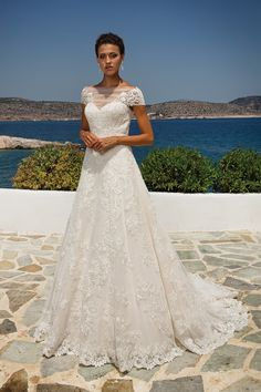 Lace Appliqué on Point d'Esprit A-line Gown with Short Sleeves