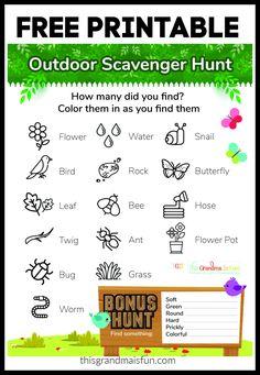 Outdoor Scavenger Hunt Free Printable Free Baby Shower Printables, Free Printables, Outdoor Scavenger Hunts, Find Color, Water Flowers, Outdoor Fun, Summer Fun, Activities For Kids, Tgif