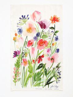 Botanical Gardens Watercolor Tea Towel