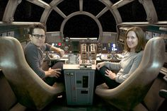 Director J.J. Abrams is in the cockpit with Lucasfilm President Kathleen Kennedy. (David James / LucasFilm Ltd.)