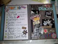 smashbook page - love the look of the page on the left and this theme would be cool with local places if like me you don't really travel and are a homebody Smash Book Inspiration, Journal Inspiration, Journal Ideas, Book Journal, Art Journals, Bullet Journal, Smash Book Pages, Glue Book, Wreck This Journal