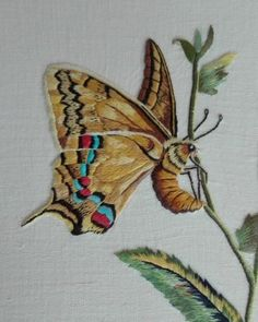 Needle painting by Françoise Butterfly Embroidery, Hand Embroidery Stitches, Embroidery Applique, Embroidery Patterns, Cross Stitch Patterns, Machine Embroidery, Thread Painting, Cross Stitch Animals, Satin Stitch
