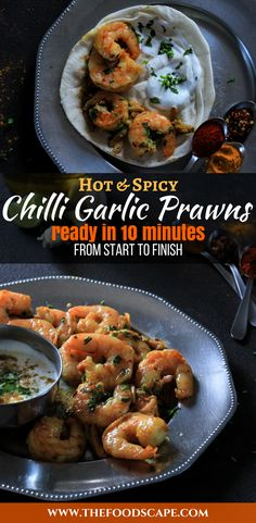 Hot, Spicy and delicious, these Chilli Garlic Prawns are ready to eat in just 10 minutes, making it the perfect weeknight dinner! Easy Prawn Recipes, Curry Recipes, Seafood Recipes, Indian Food Recipes, Appetizer Recipes, Healthy Recipes, Dinner Recipes, Fish Recipes, Chilli Garlic Prawns