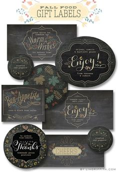 Free printable labels for your foodie fall gifts @LiaGriffith.com