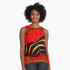 Womens Sleeveless Tops, Red Flowers, Chiffon, Butterfly, Tank Tops, Fabric, Black, Fashion, Silk Fabric
