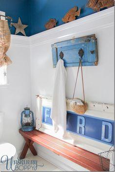 Rustic Boys Bathroom makeover via Unskippy Boppy