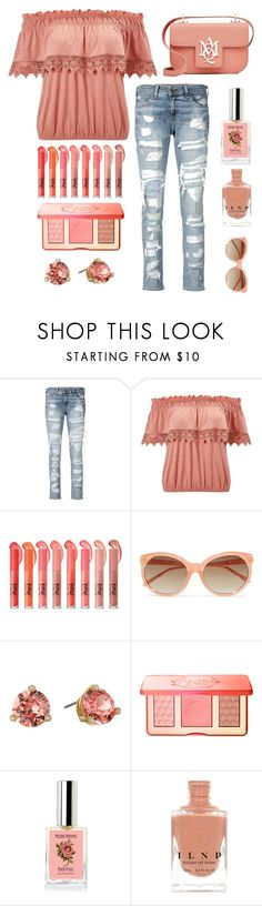 """""""Peaches"""" by im-karla-with-a-k ❤ liked on Polyvore featuring rag & bone/JEAN, Miss Selfridge, Linda Farrow, Kate Spade, Too Faced Cosmetics and Alexander McQueen"""