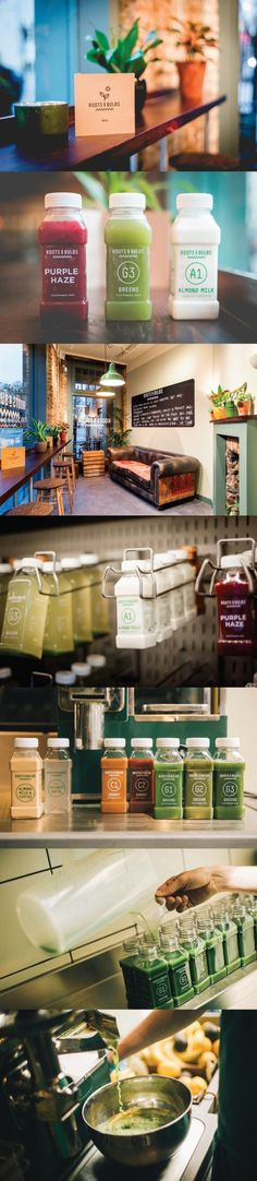 Roots & Bulbs. London's first cold-pressed juice bar. #branding #packaging #design (View more at www.aldenchong.com)