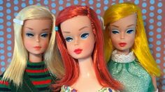 1966 Color Magic Barbies with platinum, red and golden blonde hair. These were the three colors available, and each one could change to a completely different color when you applied the special solution that was included with them. They were the first truly mod-looking Barbies in the 1960s, predating the 1967 Twist 'N Turn dolls which were totally redesigned - head to toe.