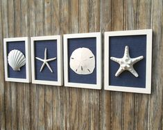 The perfect gift for the stylish woman in your life! This set of three frames is 5 3/4 x 7 3/4 inch each (measuring each outside dimensions) and would be a lovely addition to your home whether hung on the wall or lean on a mantel. Each lovely sea shell is a different size and shape as you would find in the natural and is not covered by glass adding depth and dimension. Each frame is a matte white and then I added ocean blue color burlap for interest and texture. I love this set for its…