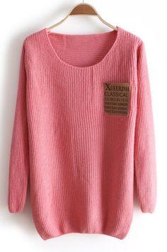 Pink Long Sleeve Letters Pocket Embellished Sweater