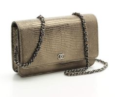 Chanel Metallic Lizard Wallet On Chain Mini Bag 15A NEW