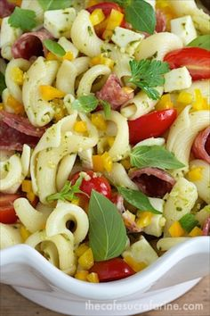 Pesto, Pepper and Sopressato Pasta Salad - perfect for picnics, parties and potlucks!