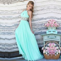 Halter High-waist Backless Pleated Long Party Dress