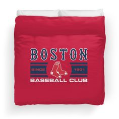 'Boston Red Sox Baseball Club Starter Series' Duvet Cover by James Jenskins Cincinnati Reds Baseball, Red Sox Baseball, Baseball League, Boston Red Sox, Duvet, Classic T Shirts, Club, Down Comforter, Comforter