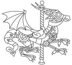 Steampunk Carousel - Dragon design (UTH6919) from UrbanThreads.com 13 September 2013