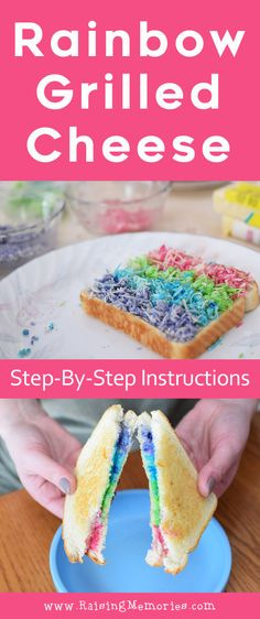 Brighten your kids' day with a fun, cute, colorful and easy, step-by-step tutorial for making a rainbow grilled cheese sandwich! Simple instructions to make a beautiful, bright, multicolored sandwich for a rainbow party or for St. Patrick's Day lunch food! by Raising Memories