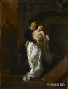 캐플릿 가 무덤 앞의 로미오와 줄리엣, 들라크루아, 18세기경, 낭만주의    인기있던 소설이 주제로 그려짐!