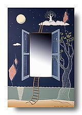 """Mirror Rope Ladder to the Sky by Pascale Judet (Painted Mirror) (18"""" x 12"""")"""