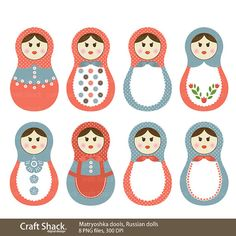 matryoshka dools (Babushka dolls), Russian Digital Clipart