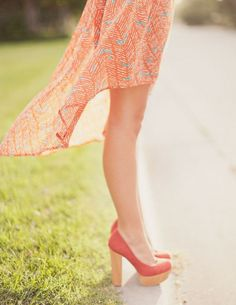 coral + turquoise high low skirt and coral + wood shoes