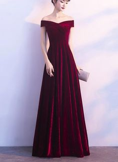 3e36a3c9de78 Wine Red Off Shoulder Velvet Long Wedding Party Dress