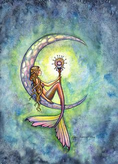 """""Mermaid Moon"" Mermaid Art by Molly Harrison"" by Molly Harrison 