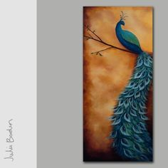 """""""Peacock Golden Panel"""" Original Hand Painted Acrylic On Canvas Painting by Julie Borden - 16"""" x 40"""""""
