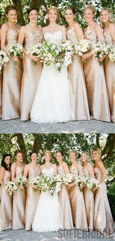 Sweetheart Long Sheath Gold Bridesmaid Dresses, PD0926 – SofieBridal Light Pink Bridesmaid Dresses, Gold Bridesmaids, Wedding Dresses, Prom Dresses, Trendy Wedding, Elegant Wedding, Dream Wedding, Elegant Gowns, Bling Wedding