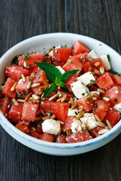 Watermelon Feta Salad:  1/4 watermelon 250 g feta 3 sprigs fresh mint 1 handful of pine nuts Salt Pepper 2 tablespoons good olive oil Juice of 1/2 lime