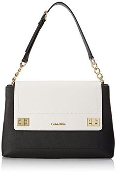Calvin Klein Saffiano Hobo Shoulder Bag Black White One Size