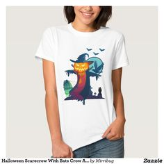 Halloween Scarecrow With Bats Crow And Owl t-shirt