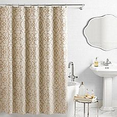 image of Vue® Signature Iron Gates Jacquard Shower Curtain in Ivory/Tan